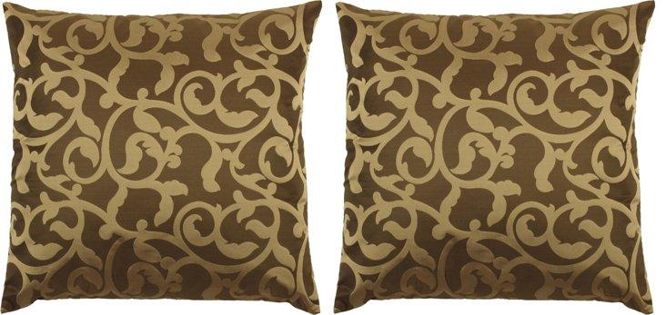 S/2 Ivy 18x18 Pillows, Brown
