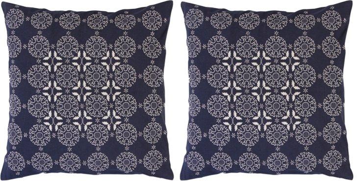 S/2 Medallion 18x18 Pillows, Navy