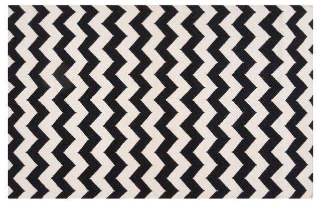 Valencia Flat-Weave Rug, Jet Black