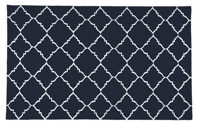 Athena Flat-Weave Rug, Navy