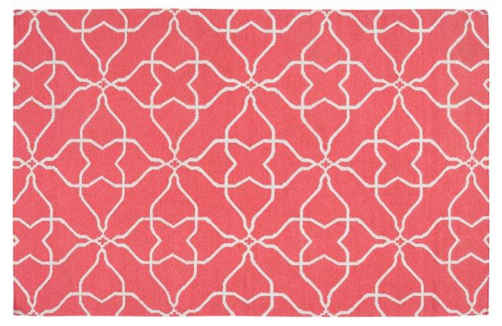 5'x8' Char Flat-Weave Rug, Pink