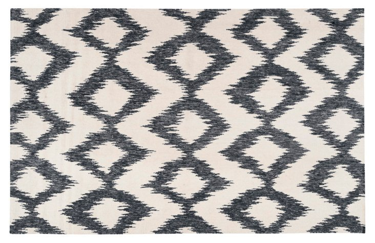 Baron Flat-Weave Rug, Ink/White
