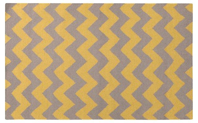 8'x11' Mia Flat-Weave Rug, Citrine