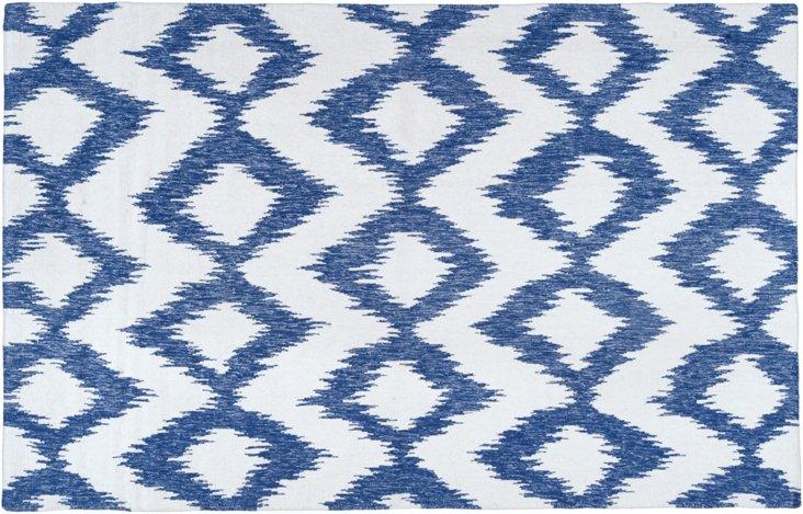 """2'6""""x8' Kendall Runner, Blue/White"""