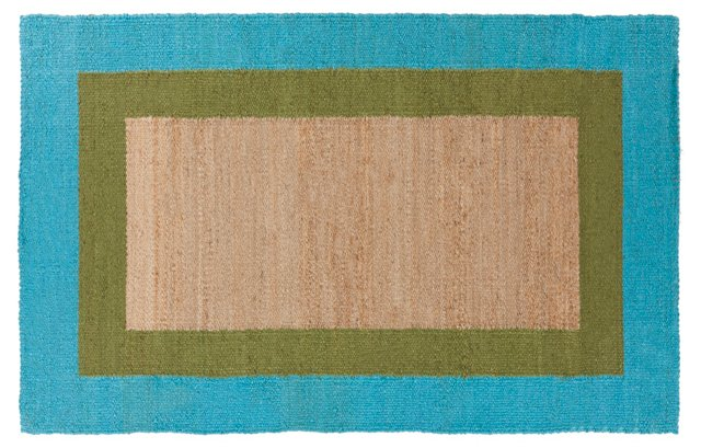 Astoria Jute Rug, Green/Azure