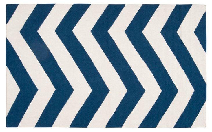 Pallas Flat-Weave Rug, Dark Blue