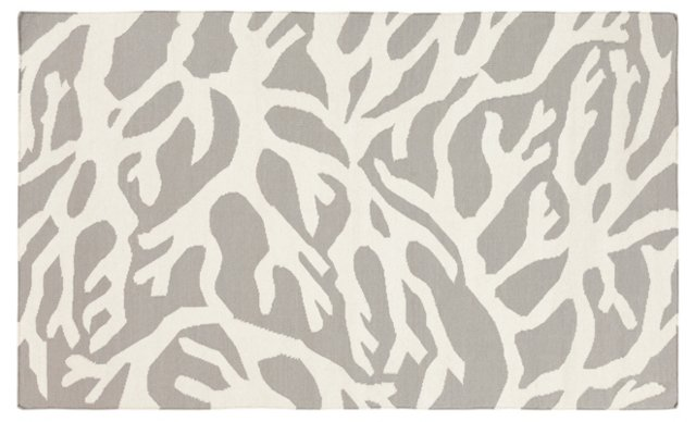Coral Flat-Weave Rug, Light Gray