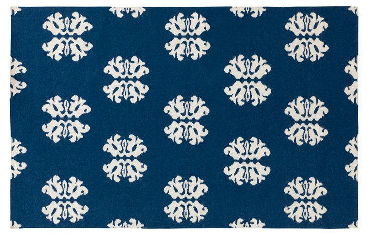 Nyan Flat-Weave Rug, Midnight Blue/Ivory