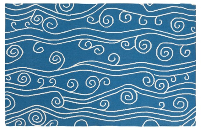 Aegis Flat-Weave Rug, Ink/White