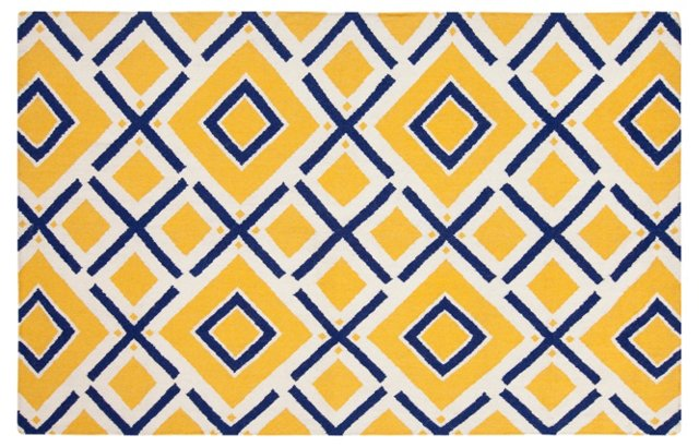 Cos Flat-Weave Rug, Navy/Yellow