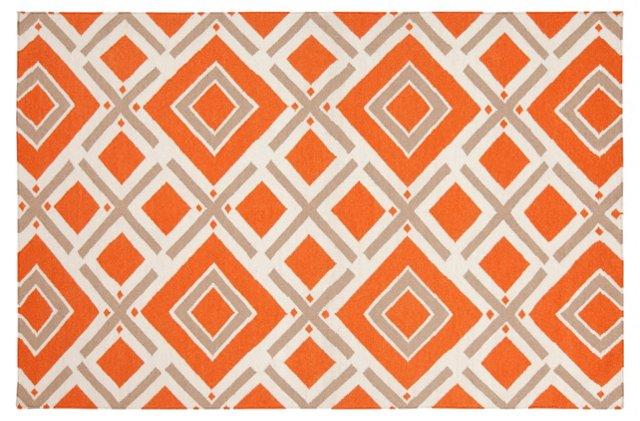 Cos Flat-Weave Rug, Orange-Red