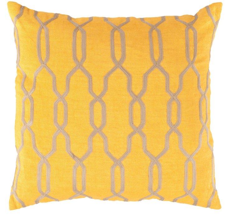Mediterranean 22x22 Linen Pillow, Yellow