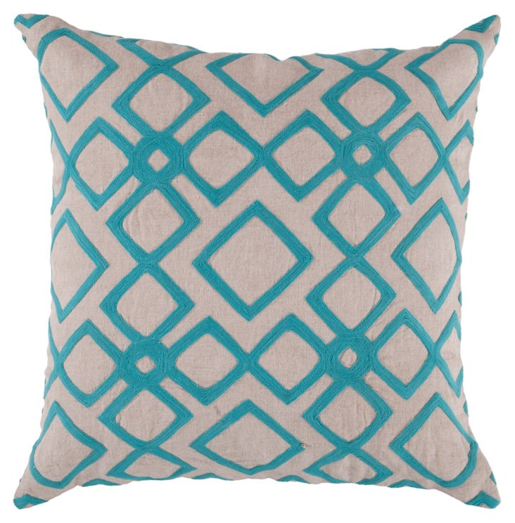Mill Embroidered Pillow, Blue