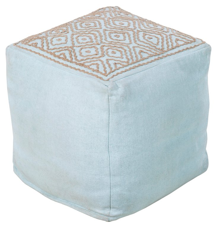 Wylie Linen Pouf, Light Blue/Jute