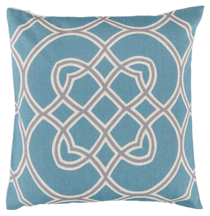 Looped 22x22 Cotton Pillow, Sky