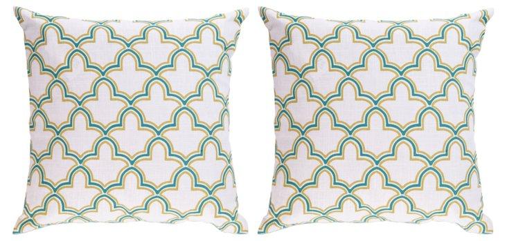 S/2 Maple Pillows, Green