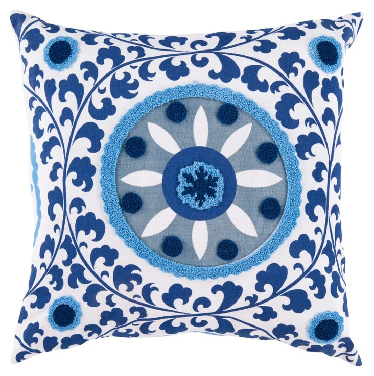 Medallion 18x18 Cotton Pillow, Blue