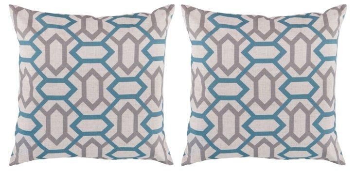 S/2 Lattice 18x18 Pillows, Cameo Blue
