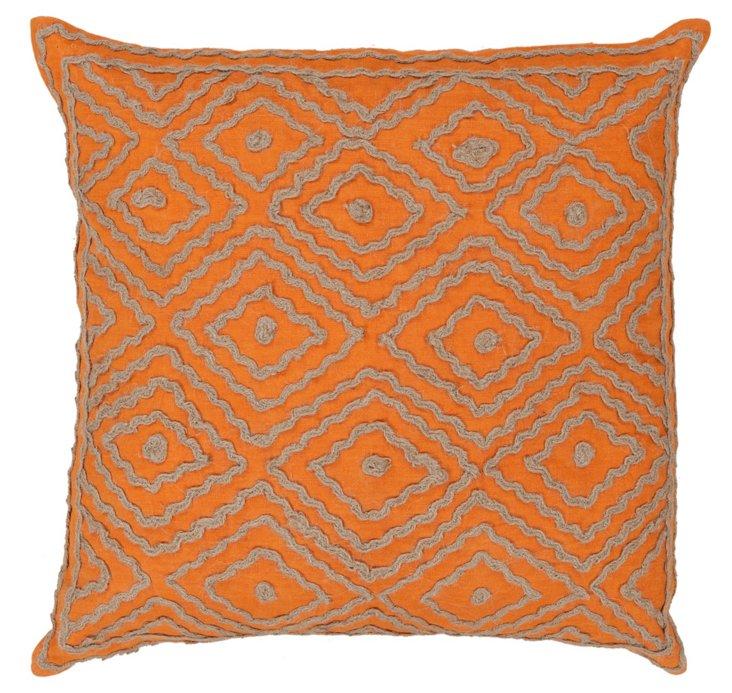 Maze Cotton Pillow, Orange