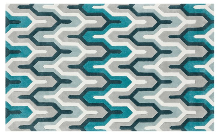 Hudson Rug, Ice Blue/Multi