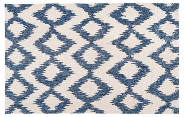 Kendall Flat-Weave Rug, Blue/White