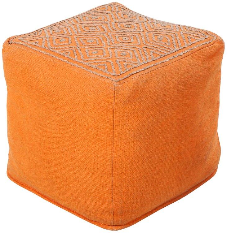 Wylie Geometric Pouf, Orange/Jute