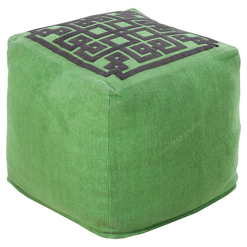 Wylie Pouf, Green Greek Key