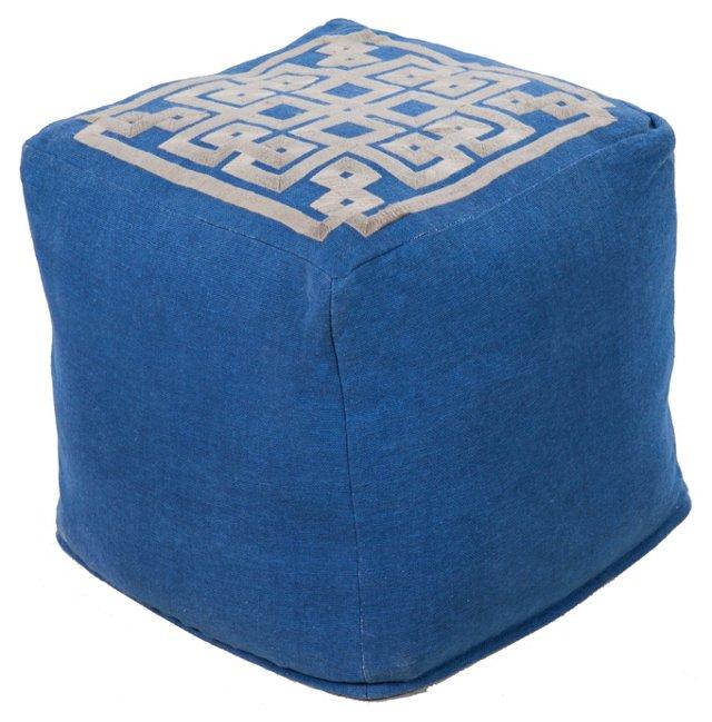 Wylie Linen Pouf, Blue/Gray