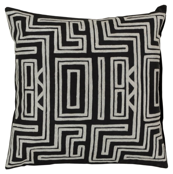 Tribal Embroidered Pillow, Black