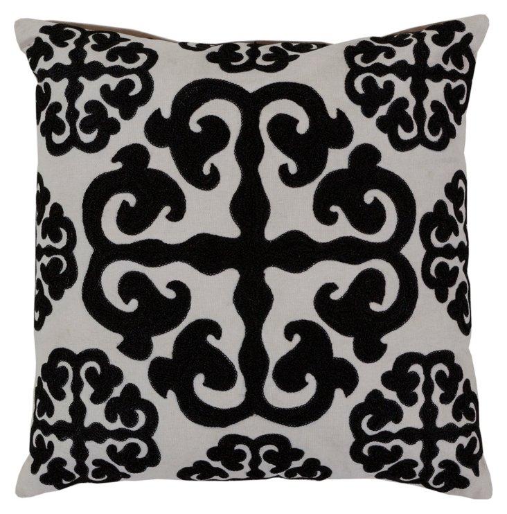 Swirling Cotton Pillow, Black