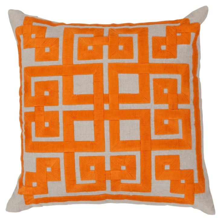 Geo Embroidered Pillow, Orange