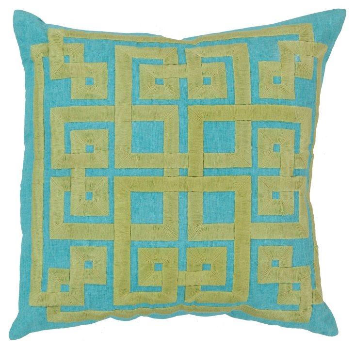 Geo Linen-Blended Pillow, Aqua