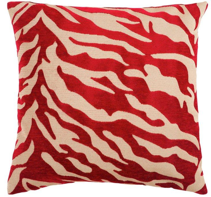 Zebra 18x18 Pillow, Red