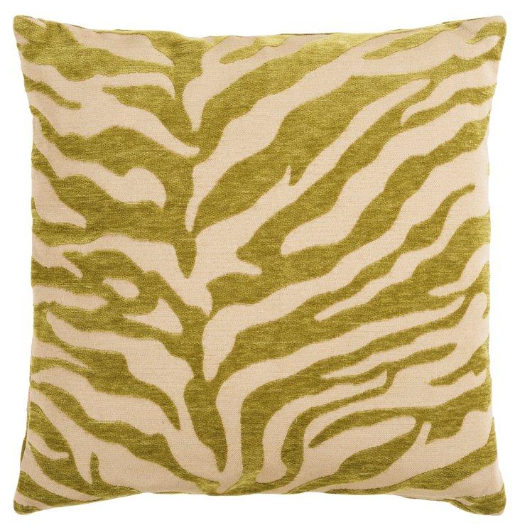Zebra Pillow, Green