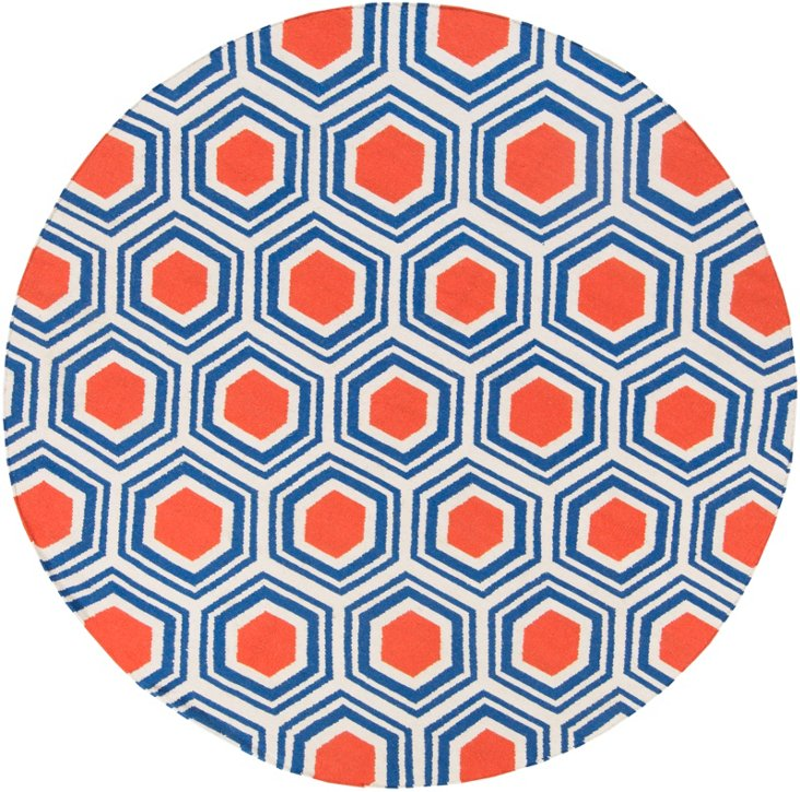8' Round Pandora Flat-Weave Rug, Blue/Pa