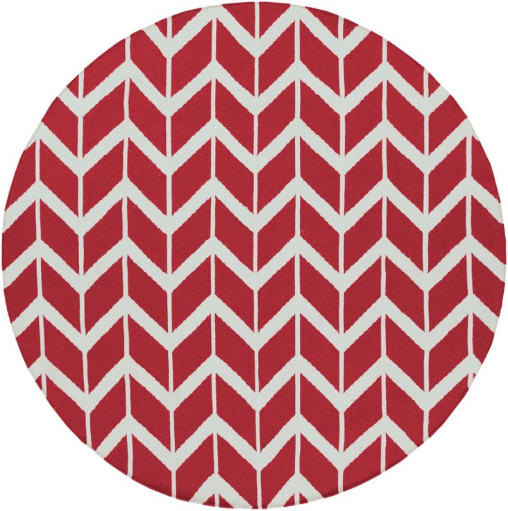 8' Round Haven Flat-Weave Rug, Red