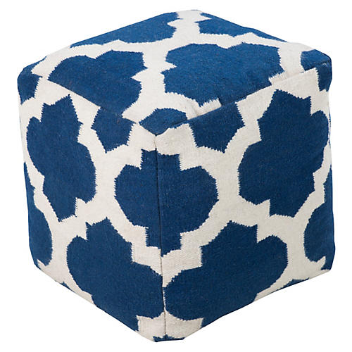 Everett Pouf, Cobalt/White