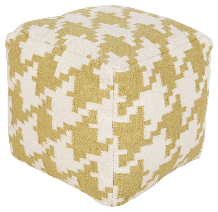 Houndstooth Pouf, Wasabi/White