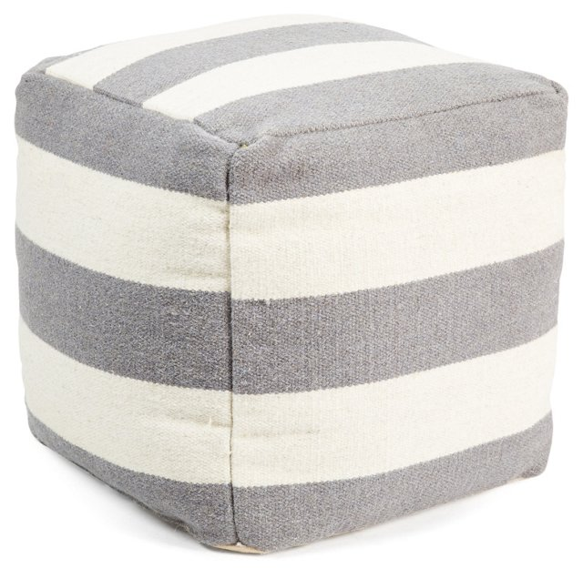 Anniston Wool Pouf, Gray/White