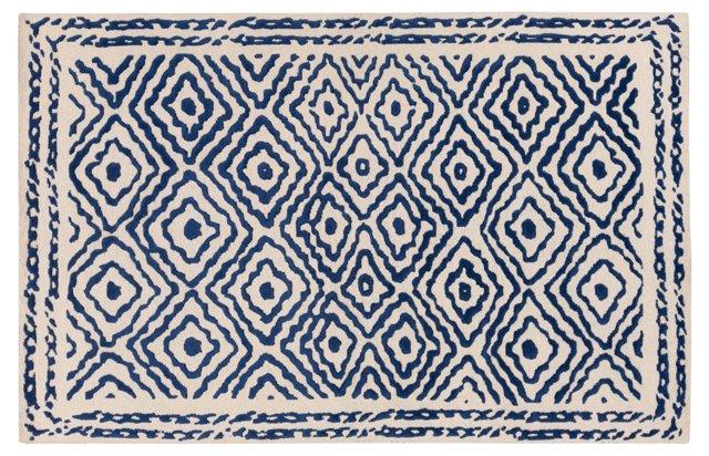 Ruess Flat-Weave Rug, Blue/Ivory