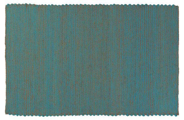 5'x8' Steffen Jute Rug, Camel/Blue