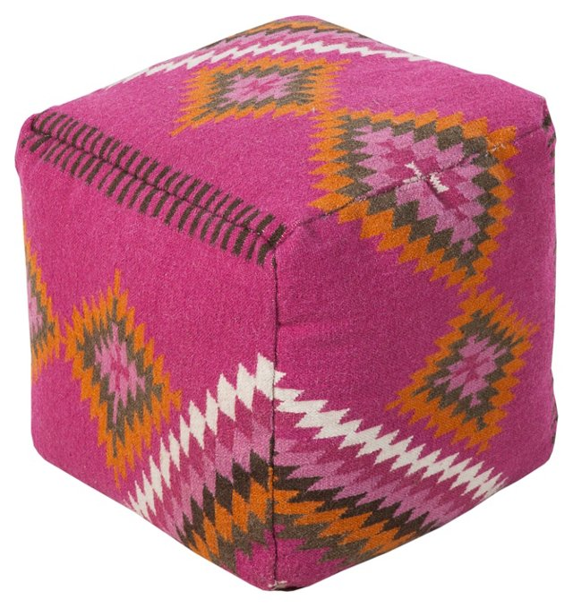 Nomad Wool Pouf, Pink