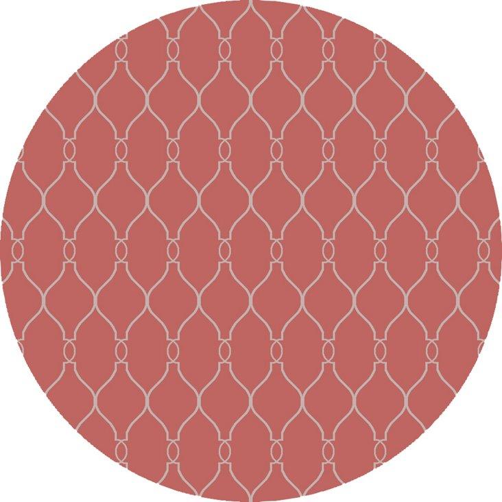 8' Round Pippa Flat-Weave Rug, Paprika