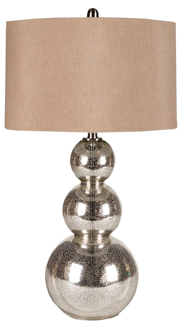 Bauble Table Lamp, Silver Mercury Glass