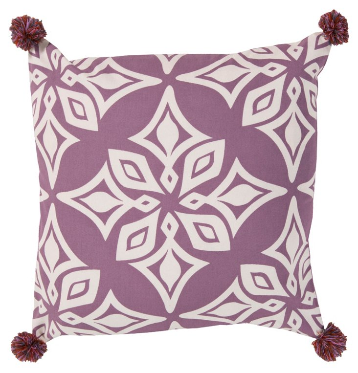 Kaleidoscope 20x20 Cotton Pillow, Purple
