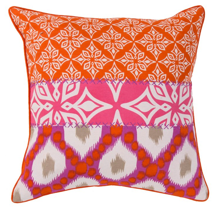 Patchwork 20x20 Cotton Pillow, Multi