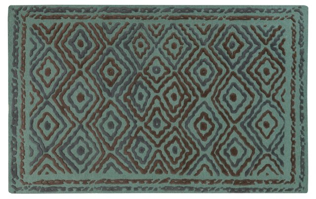 Norah Rug, Green/Blue