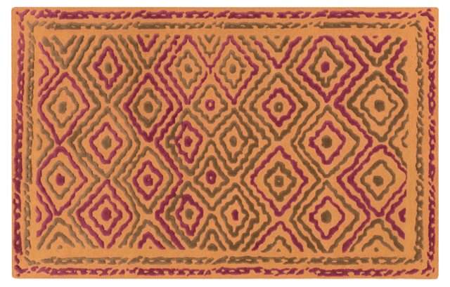 Norah Flat-Weave Rug, Orange/Multi