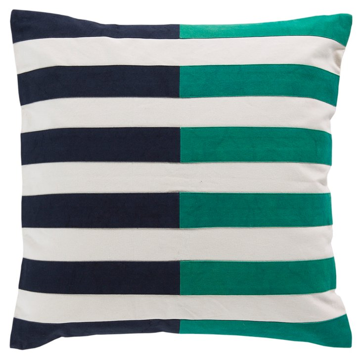 Stripes Cotton Pillow, Blue/Green