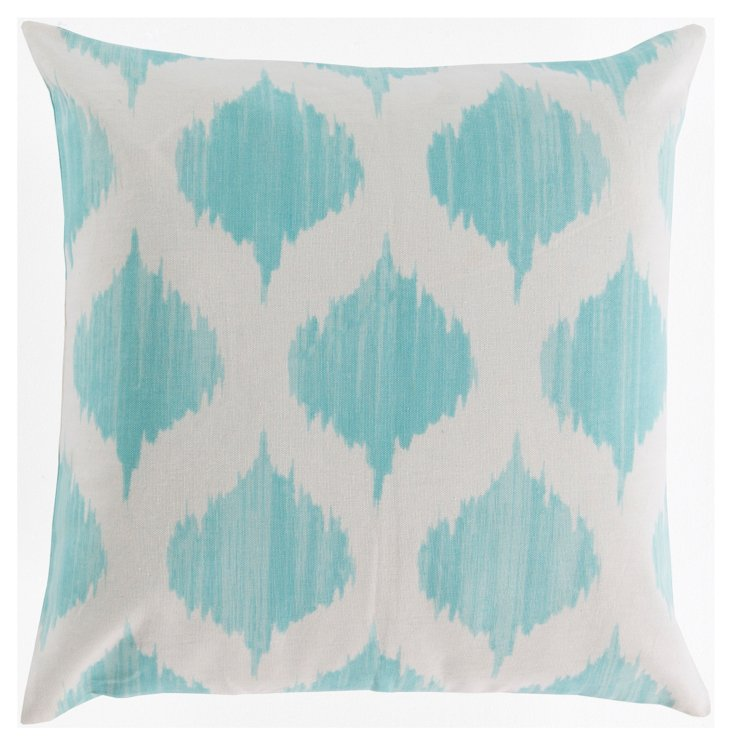 Ikat Cotton Pillow, Blue